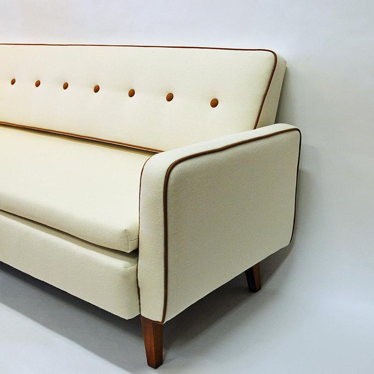 Swedish Lovely Sofa and Daybed of White Wool by Ire Möbler, 1950s, Sweden For Sale