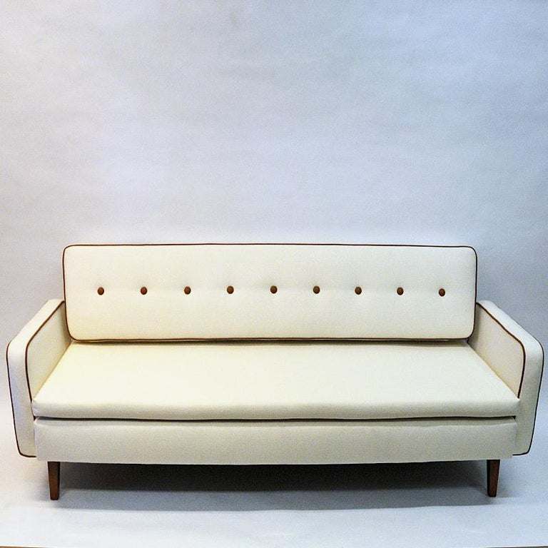 Stained Lovely Sofa and Daybed of White Wool by Ire Möbler, 1950s, Sweden For Sale