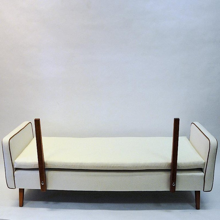 Leather Lovely Sofa and Daybed of White Wool by Ire Möbler, 1950s, Sweden For Sale
