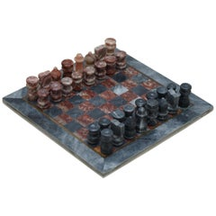 Lovely Solid Marble Vintage Medium Sized Chess Set Must See Pictures Good Gift