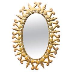 Lovely Spanish Ornate Gilt Metal Oval Sunburst Wall Mirror