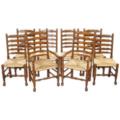 Lovely Suite of Eight circa 1880 Dutch Ladder Back Oak Rush Seat Dining Chairs 8