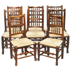 Lovely Suite of Eight circa 1860 Dutch Ladder Back Elm Rush Seat Dining Chairs