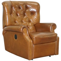 Lovely Tan Brown Leather Chesterfield Electric Relciner Armchair Comfortable!!!!