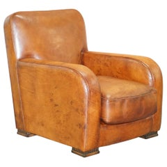 Lovely Tetrad Totnes Eco Hand Dyed Brown Leather Feather Filled Cushion Armchair