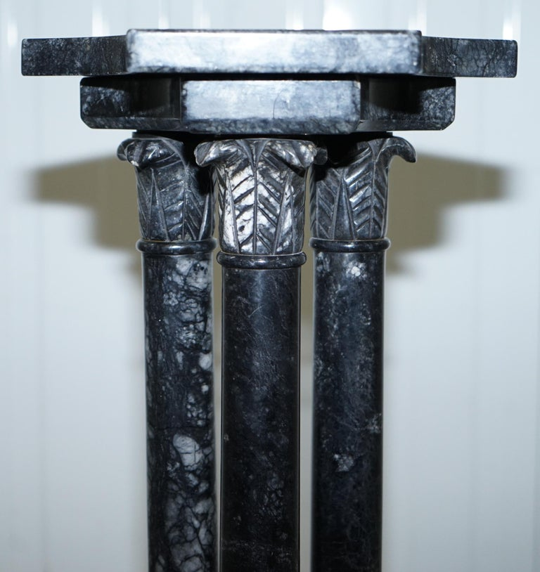 Lovely Unique Solid Marble Pedestal Column with Three Central Corinthian Pillars For Sale 9