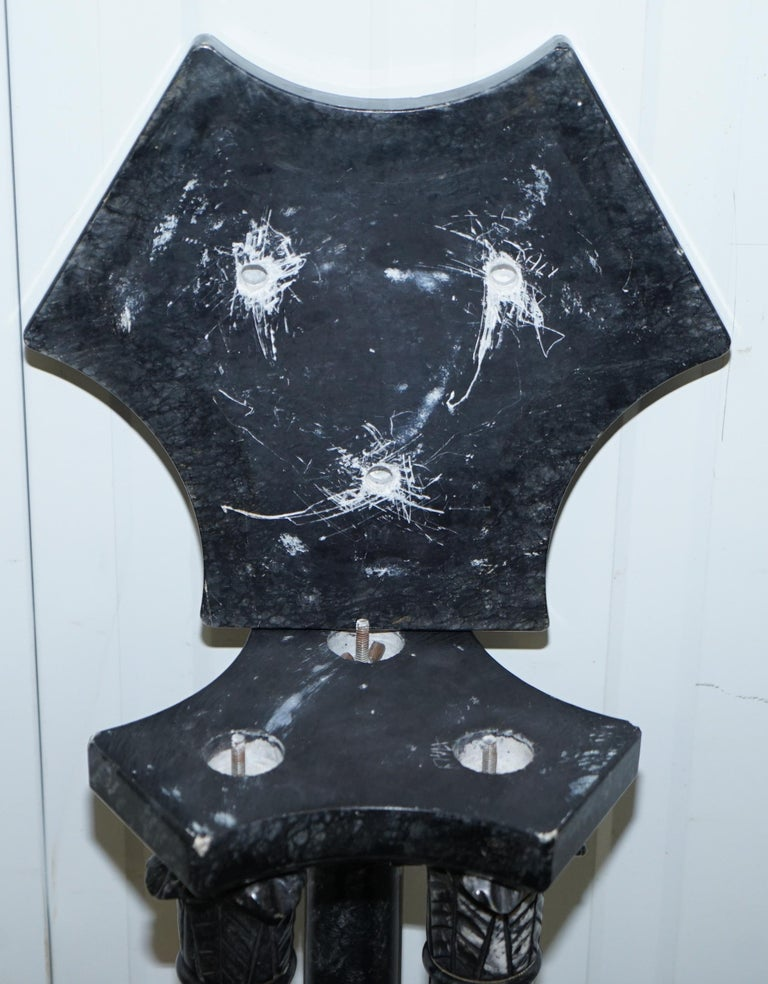 Lovely Unique Solid Marble Pedestal Column with Three Central Corinthian Pillars For Sale 12