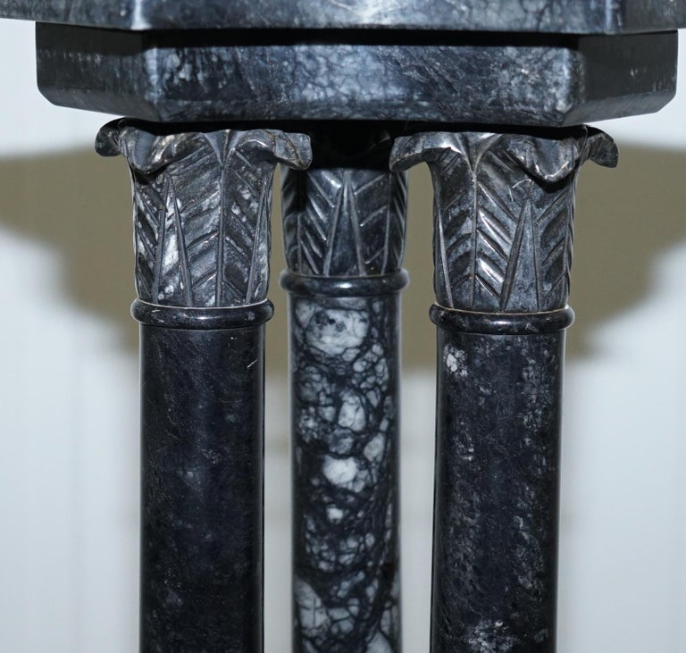 Contemporary Lovely Unique Solid Marble Pedestal Column with Three Central Corinthian Pillars For Sale