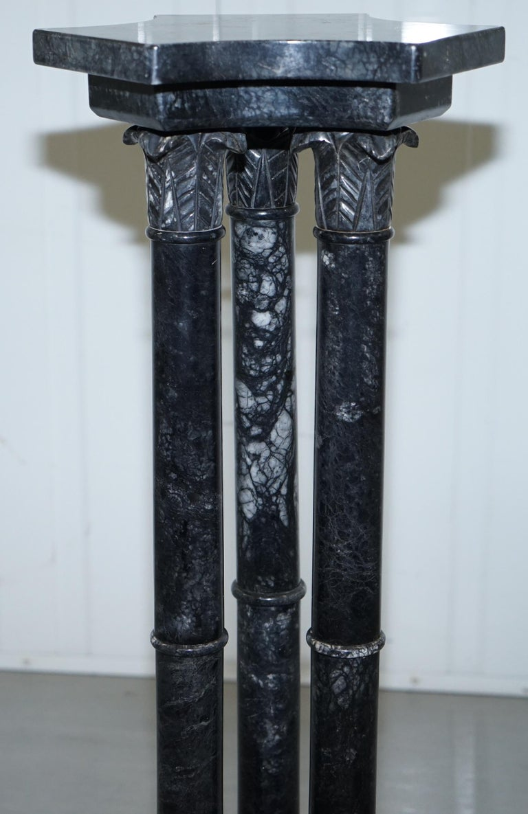 Lovely Unique Solid Marble Pedestal Column with Three Central Corinthian Pillars For Sale 2