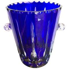 Lovely Val Saint Lambert Cobalt Blue Crystal Champagne Bucket