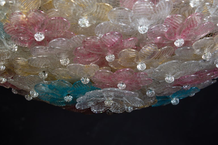 20th Century Lovely Venetian Ceiling Flowers Basket by Barovier & Toso, 1950s For Sale