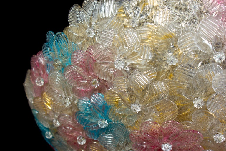 Lovely Venetian Ceiling Flowers Basket by Barovier & Toso, 1950s For Sale 1
