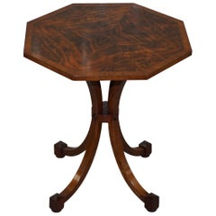 Lovely Victorian Burr Walnut Octagonal Side Table on Four Out Swept Down Legs
