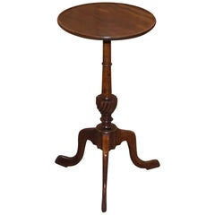 Lovely Victorian circa 1880 Flamed Mahogany Tripod Lamp Side End Wine Table