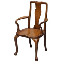 Lovely Victorian Howard & Son's Fully Stamped Office Desk Armchair in Walnut