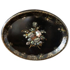 Lovely Victorian Paper Mache & Inlay Oval Tray