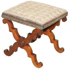 Lovely Victorian Walnut William & Mary Style Stool, Lovely X-Frame Carved Base