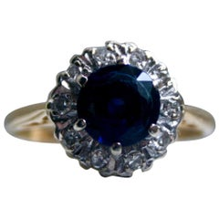 Lovely Vintage 18 Karat Yellow Gold Diamond and Sapphire Halo Ring, 1.75 Carat