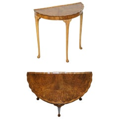 Lovely Vintage Art Deco Style Burr Walnut Demi Lune Half Moon Console Side Table