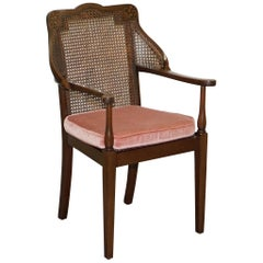 Lovely Vintage Berger Mahogany Carved Wood Rattan Armchair with Velour Cushion