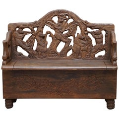 Lovely Vintage Black Forest Wood Bear Bench with Internal Storage Part of Suite