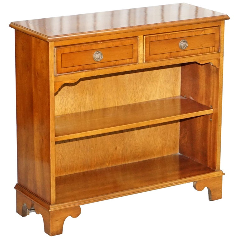 Lovely Vintage Burr Yew Wood Small Library Bookcase