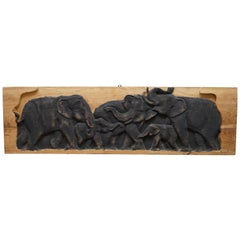 Lovely Vintage Carved Wood Display Depicting a Herd of Elephants, circa 1960s