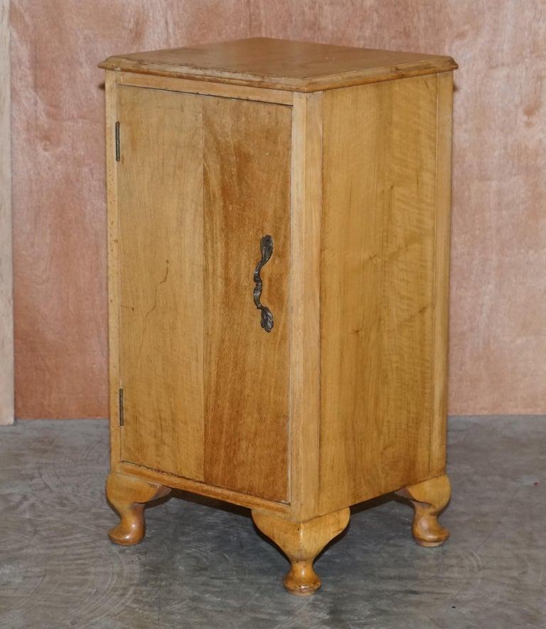 Art Deco Lovely Vintage circa 1930's Bedside Lamp End Wine Table Burr Walnut Part Suite For Sale