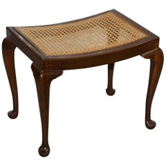 Lovely Vintage circa 1940s Rattan Berger Bench Stool Seat with Cabriolet Legs