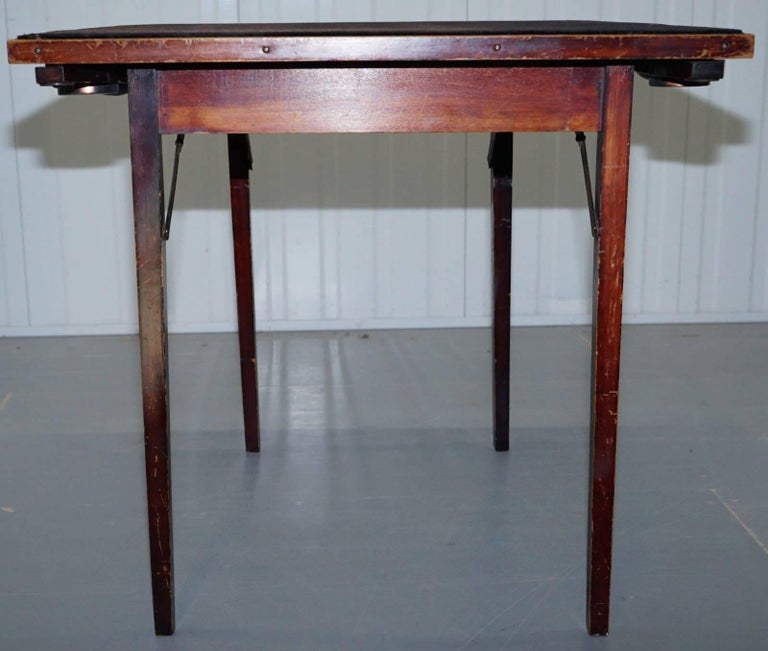 Lovely Vintage Edwardian Folding Card Table Fully Stamped Registered x Trademark For Sale 3