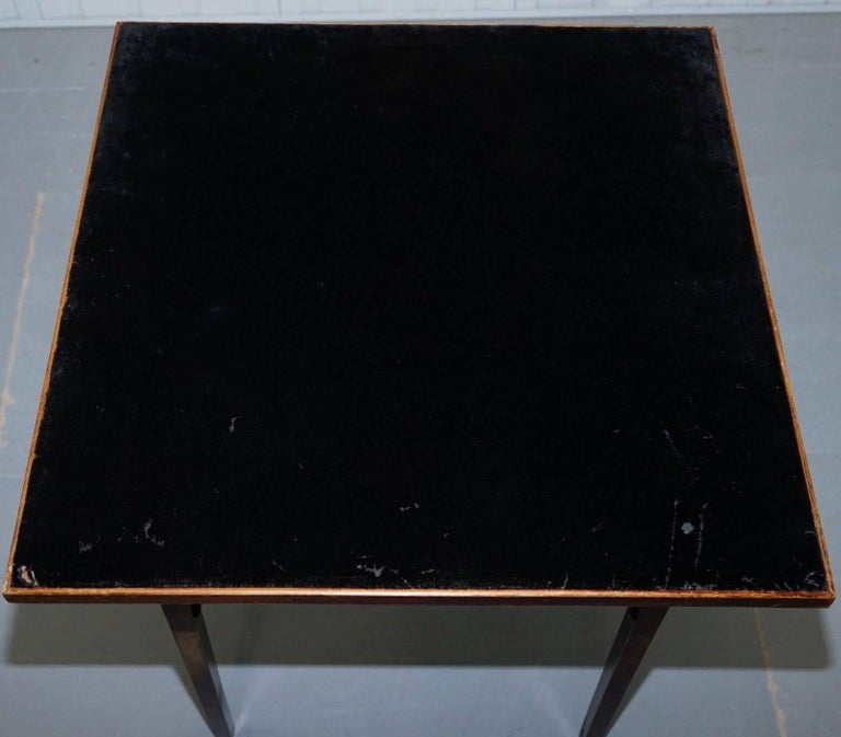 Lovely Vintage Edwardian Folding Card Table Fully Stamped Registered x Trademark In Fair Condition For Sale In London, GB