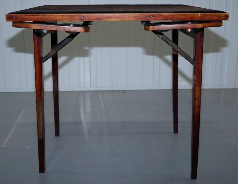 Mahogany Lovely Vintage Edwardian Folding Card Table Fully Stamped Registered x Trademark For Sale