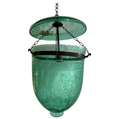Lovely Vintage English Green Etched Glass Bell Jar Fixture