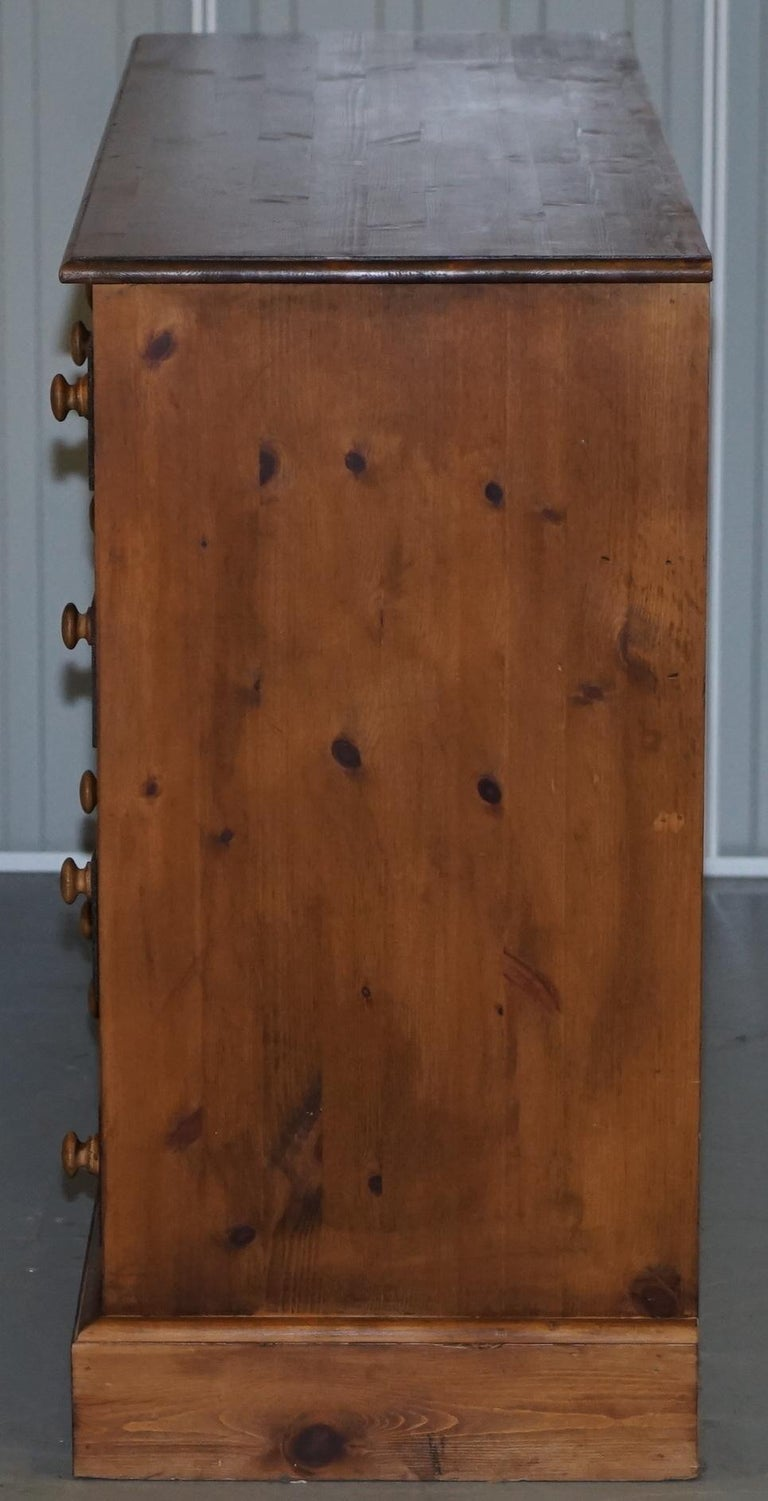 Lovely Vintage Farmhouse Pine Sideboard Sized Bank or Chest of Staggered Drawers For Sale 3