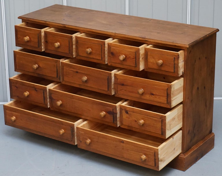 Lovely Vintage Farmhouse Pine Sideboard Sized Bank or Chest of Staggered Drawers For Sale 4