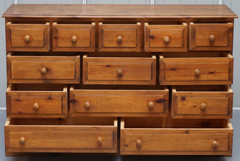 Lovely Vintage Farmhouse Pine Sideboard Sized Bank or Chest of Staggered Drawers For Sale 5