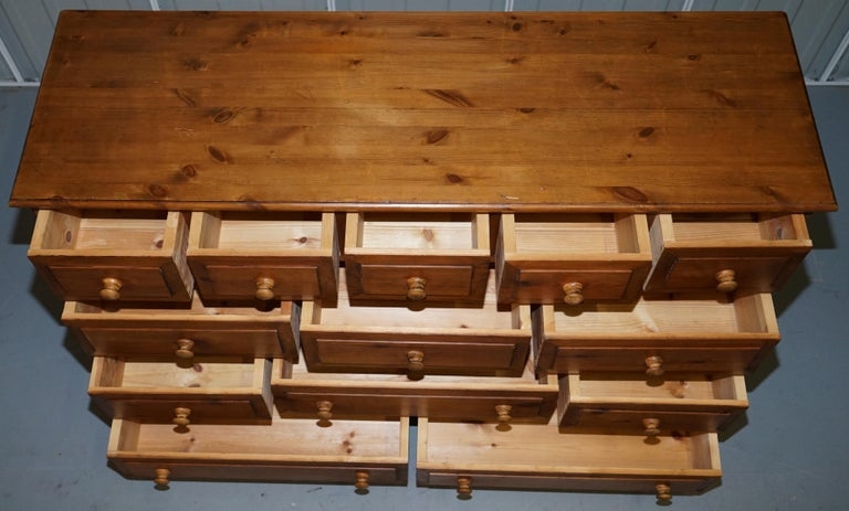 Lovely Vintage Farmhouse Pine Sideboard Sized Bank or Chest of Staggered Drawers For Sale 6