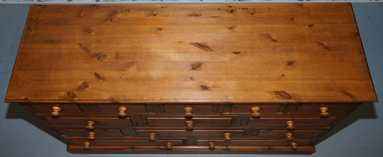 French Provincial Lovely Vintage Farmhouse Pine Sideboard Sized Bank or Chest of Staggered Drawers For Sale