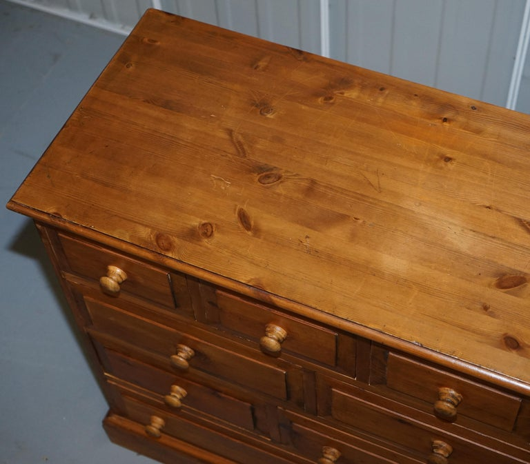 English Lovely Vintage Farmhouse Pine Sideboard Sized Bank or Chest of Staggered Drawers For Sale