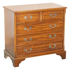 Lovely Vintage Flamed Mahogany Side Table Sized Chest of Drawers Utilitarian