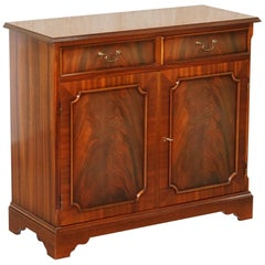 Lovely Vintage Flamed Mahogany Twin Drawer Cupboard Very Utilitarian Piece