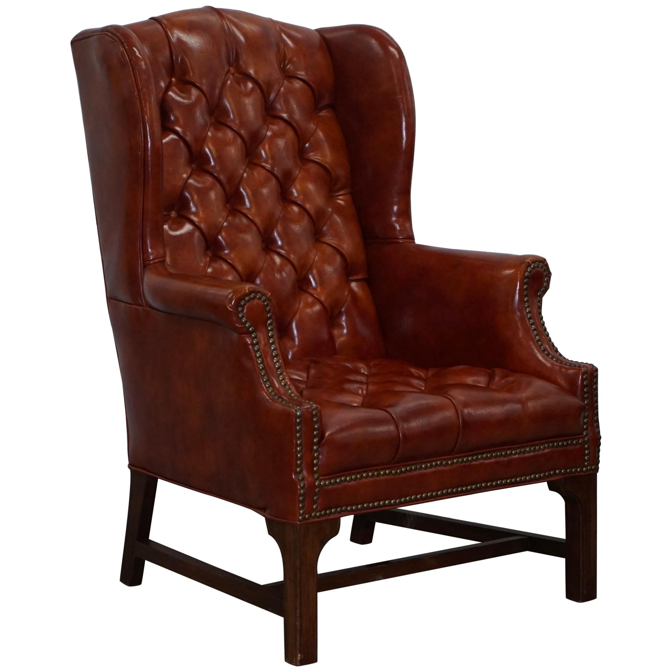 Exceptionnel Lovely Vintage Fully Buttoned Chesterfield Wingback Armchair Nice  Upholstery For Sale