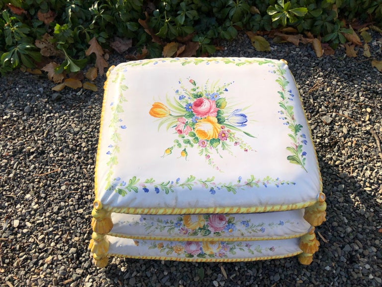 Ceramic Lovely Vintage Garden Stool in Stacked Cushion Motife For Sale