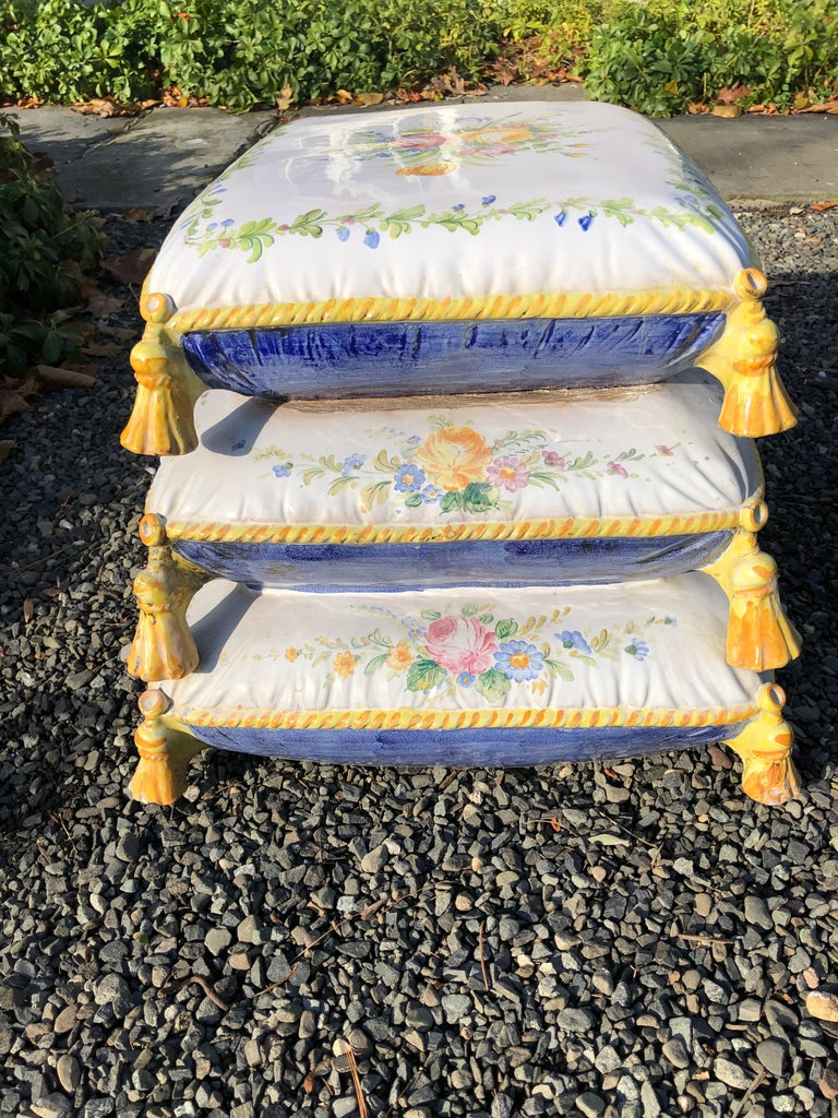 Lovely Vintage Garden Stool in Stacked Cushion Motife For Sale 1