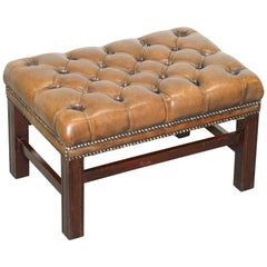 Lovely Vintage Hand Dyed Brown Leather Large Chesterfield Tufted Footstool