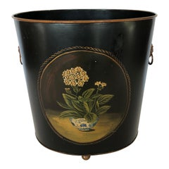 Lovely Vintage Hand Painted Tole Waste Basket
