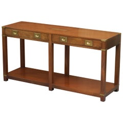 Lovely Vintage Harrods London Kennedy Military Campaign Console Table Drawers
