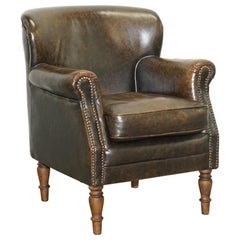 Lovely Vintage Heritage Aged Brown Leather Club Armchair Beech Wood Turned Legs