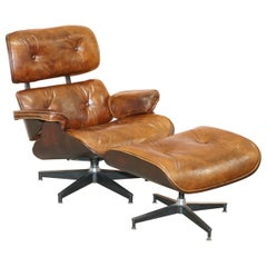 Lovely Vintage Heritage Aged Brown Leather Upholstery Lounge Armchair & Ottoman