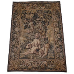 Lovely Vintage Wall Hanging Tapestry Rug Depicting Dogs French Horn and Sword